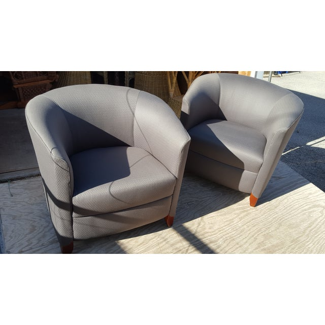 Linen Bernhardt Blue Club Chairs - A Pair For Sale - Image 7 of 7