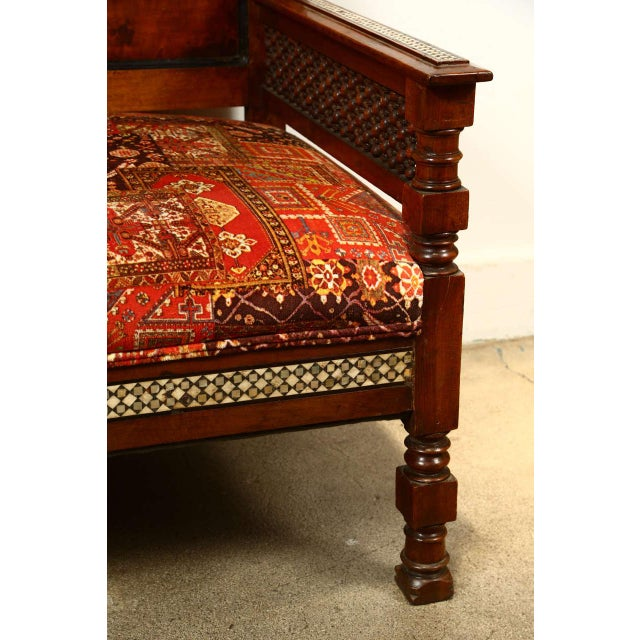 Antique Syrian Settee With Mother-Of-Pearl Inlay For Sale - Image 4 of 10