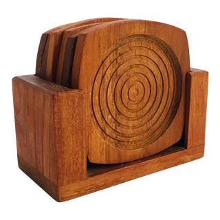 Mid Century Teak Coasters - Set of 6 in Holder