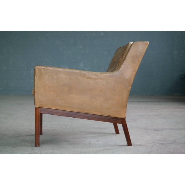 Tan Kai Lyngfeldt Larsen Easy Chair Model 39 Leather Rosewood for Søren Willadsen For Sale - Image 8 of 11