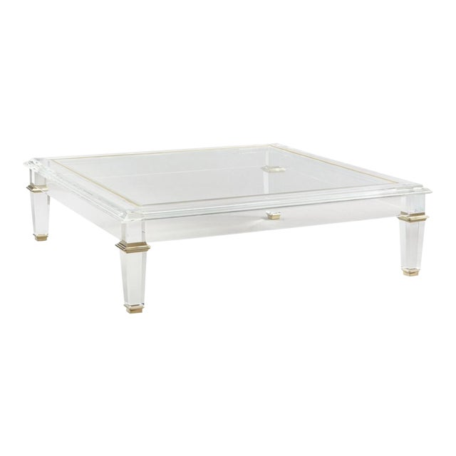 Caracole Signature Contemporary Acrylic Pierre Cocktail Table For Sale