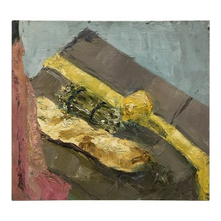 Vintage Still Life Painting of Asparagus and Bread For Sale