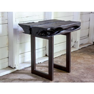 Asian Modern Yakisugi Wood and Metal Side End Table Preview