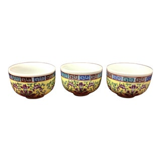 Famille Jaune Tea Cups- Set of 3 For Sale