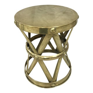1970's Vintage Brass X Base Table For Sale