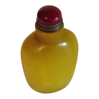 Chinese Snuff Bottle Yellow Milk Glass W/Spoon Domed Shaped Top; Circa 1920 For Sale