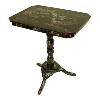 Antique Side Table With Mother of Pearl Inlay For Sale