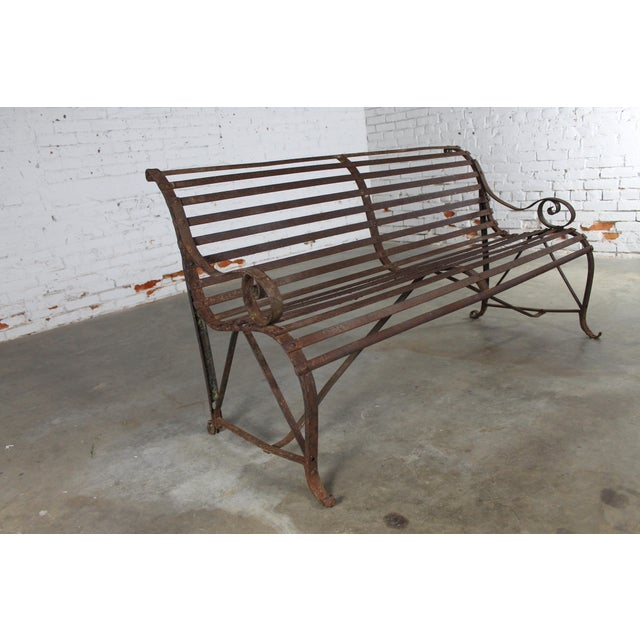Antique 19th Century Forged Strap Iron Garden Bench For Sale - Image 10 of 10