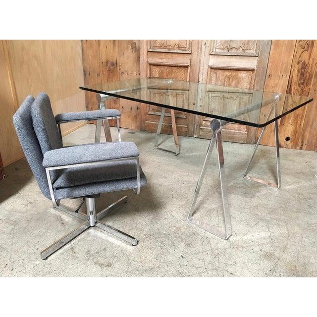 Mid-Century Modern Fortress Blue Upholstered Chrome Swivel Desk Chair - Image 2 of 10
