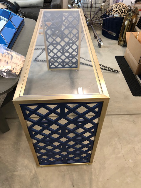 Unique Brass, Acrylic And Cobalt Wood Console Table Is Great In Any Entry,  Corner