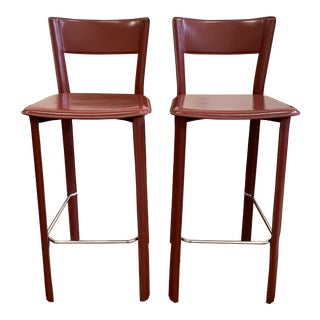 Design Within Reach Allegro Leather Barstools - a Pair For Sale