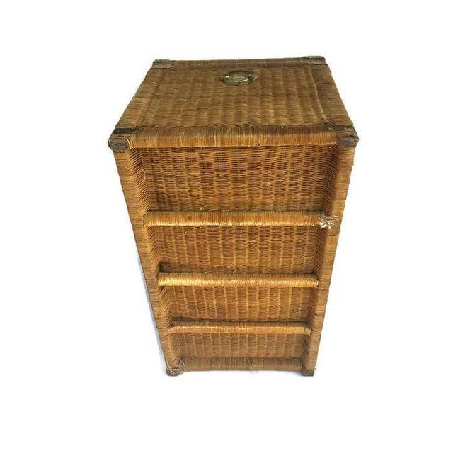Wicker Storage Chest Coffee Table: Vintage Rattan Trunk Wicker Chest Brass Hardware Bohemian