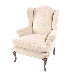 Vintage Upholstered Wingback Chair For Sale
