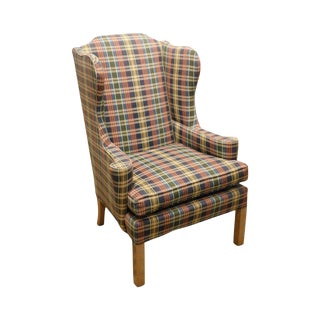 Ashley Manor Chippendale Style Plaid Upholstered Wing Chair For Sale