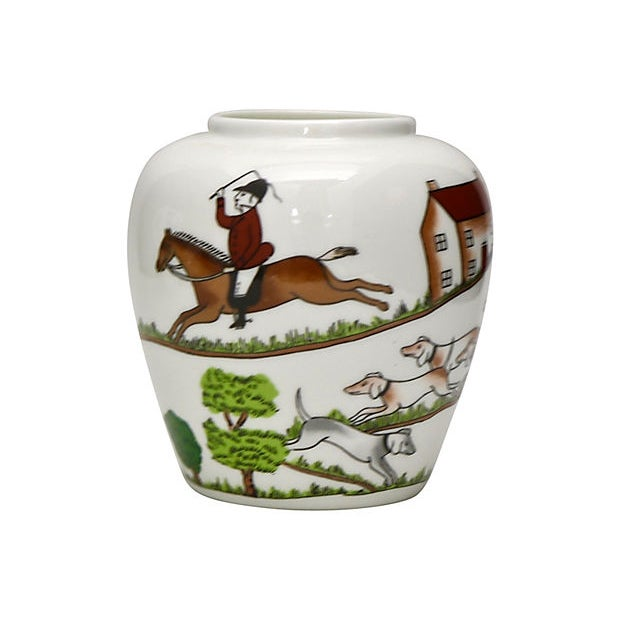 Late 20th Century Crown Staffordshire English Hunting Scene Vase For Sale - Image 5 of 5