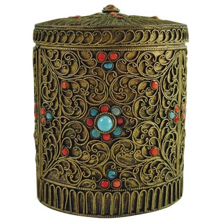 Brass Filigree Box For Sale