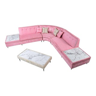 Pink Mid-Century Modern Sectional Sofa & Coffee Table Set For Sale