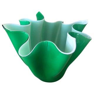 1950s Venini and Bianconi Fazzoletto Handkerchief Green Vase or Bowl For Sale