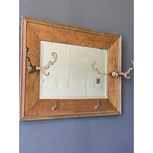 Burnt Umber 19th Century Oak Mirror With Hats Hooks For Sale - Image 8 of 10