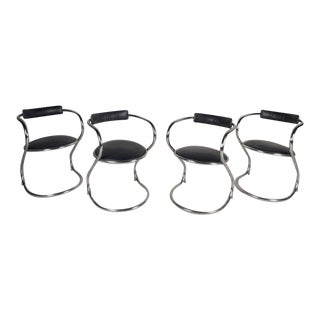 "Contemporary Chrome Cantilever ""Zigzag"" Dining Chairs - Set of 4"