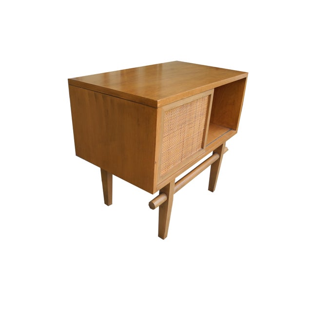 1950s 1950's Mid-Century Modern Single Maple Nightstand For Sale - Image 5 of 9