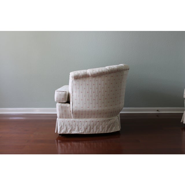Upholstered Tufted Barrel Chairs - A Pair For Sale - Image 7 of 11