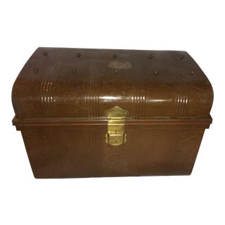 Old Victorian Tin Trunk & Brass Hardware For Sale