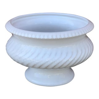 Late 20th Century German White Ceramic Pedestal Planter For Sale