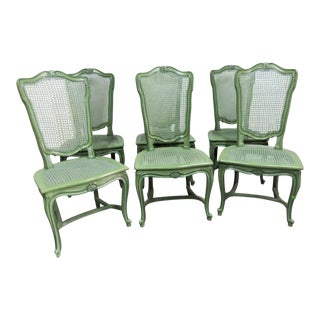 Louis XV Custom Painted Caned Dining Chairs- Set of 6 For Sale