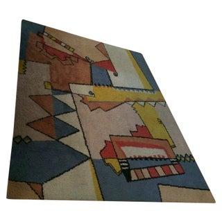 "Vintage Mid-Century Abstract Area Rug - 7'6""x5'5"" For Sale"