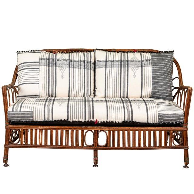 1920s Bent Wood Loveseat Settee With Injiri Upholstery For Sale - Image 10 of 10
