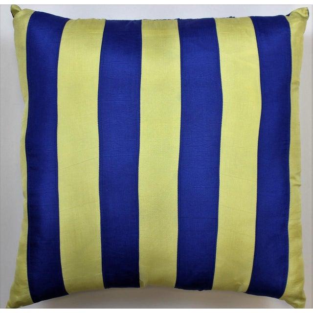 Royal Blue & Yellow Racing Stripe Silk Pillow - Image 2 of 3