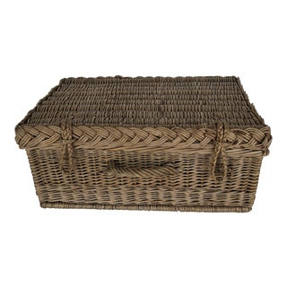 Antique French Woven Large Basket With Lid