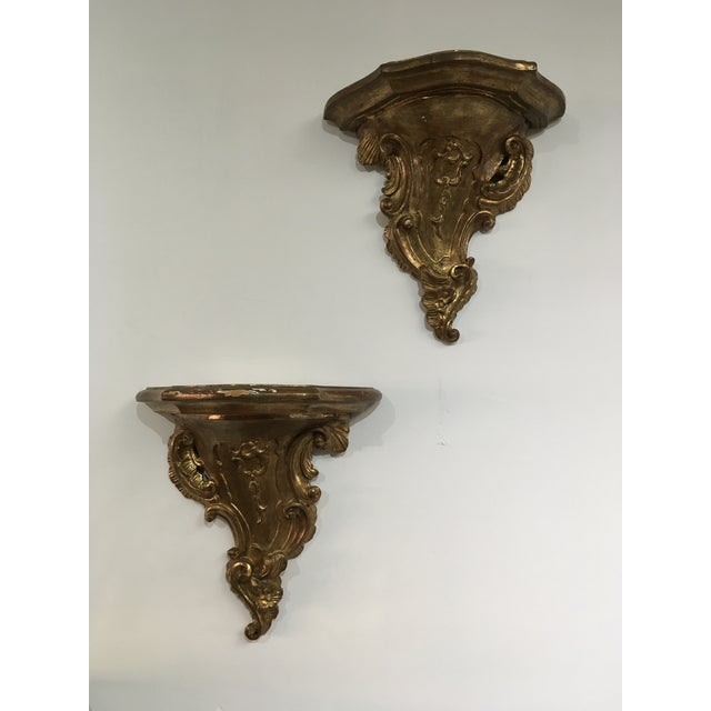 19th Century Rococo Gilt Wall Shelves - a Pair For Sale - Image 12 of 12