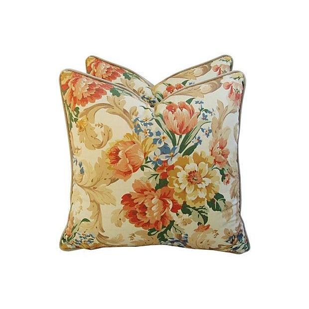 Designer Italian Linen & Velvet Pillows - A Pair - Image 1 of 7