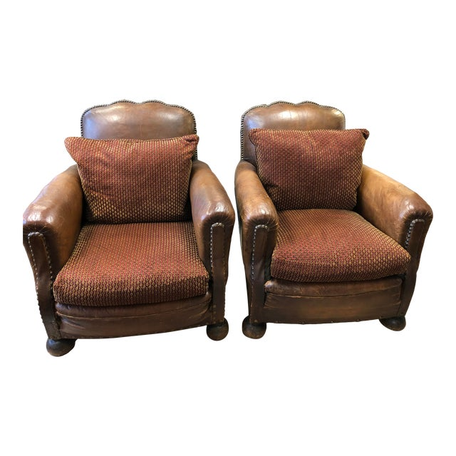 1930's French Leather Chairs For Sale