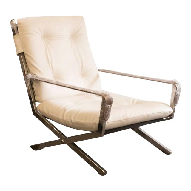 Mid-Century Italian Chrome, Leather, and Vinyl Armchair - Image 1 of 3