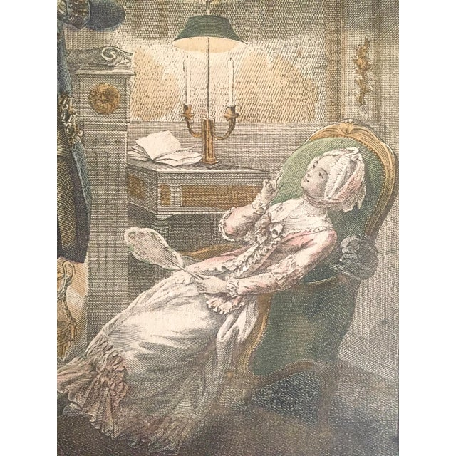 """Paper Rare Antique 1774 Freudenberger """" La Soiree D' Hyver """" Hand Painted French Engraving Art Print For Sale - Image 7 of 11"""
