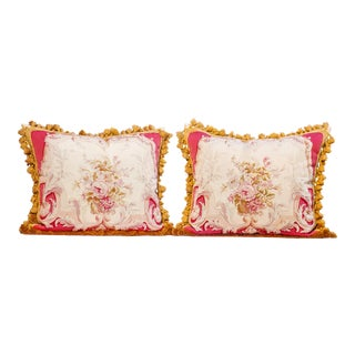 Pair of 19th Century Fine Aubusson Tapestry Pillows, For Sale