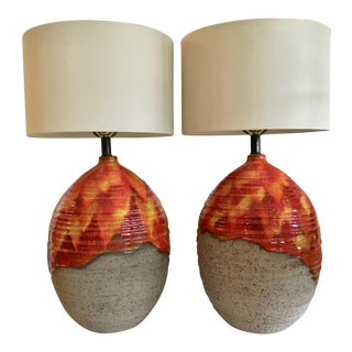 Drip Glaze Table Lamps - A Pair For Sale