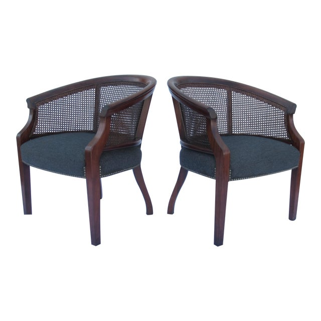 Vintage C.1968 Mahogany Barrel Back & Caned Arm Chairs With Brass Nail Heads - a Pair For Sale