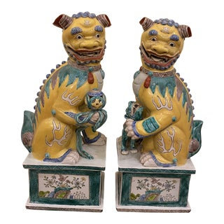 Late 19th Century Chinese Foo Dogs - a Pair For Sale