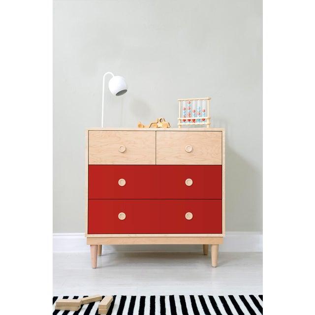 Nico & Yeye Nico & Yeye Lukka Modern Kids 4 Drawer Dresser Maple Red For Sale - Image 4 of 5