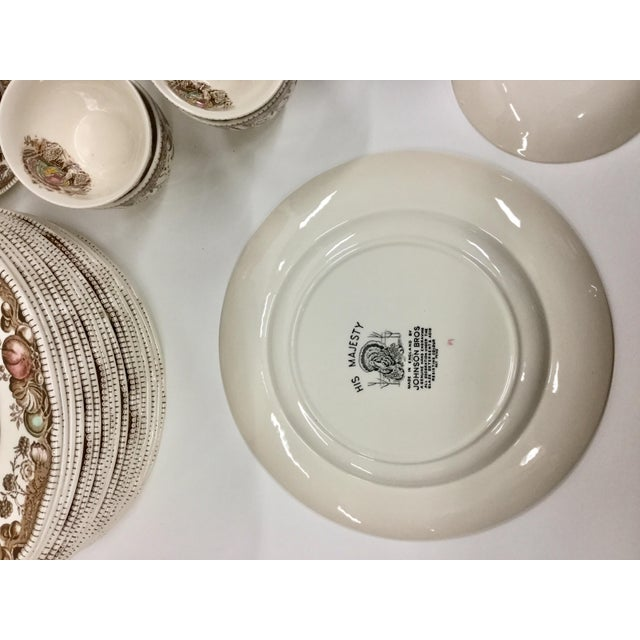 White Johnson Bros His Majesty Turkey Dinnerware - Set of 71 For Sale - Image 8 of 13