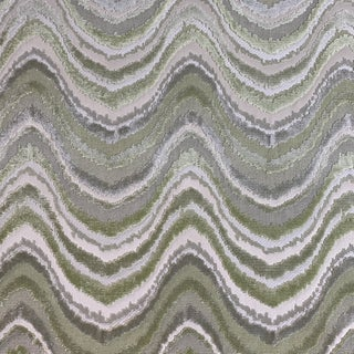 Pistachio Green Bargello Luxe Velvet Fabric- Yardage For Sale