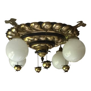 Vintage 1960s Brass and Glass Globe Chandelier For Sale