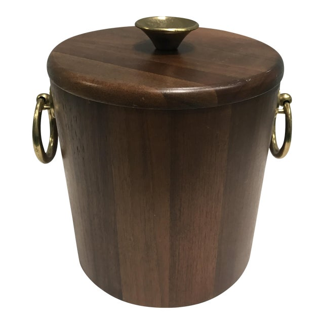 Walnut Mid-Century Ice Bucket - Image 1 of 5
