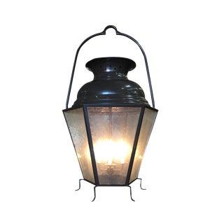 Large Octagon Bronze 4 Light Lantern Chandelier W/ Handle For Sale