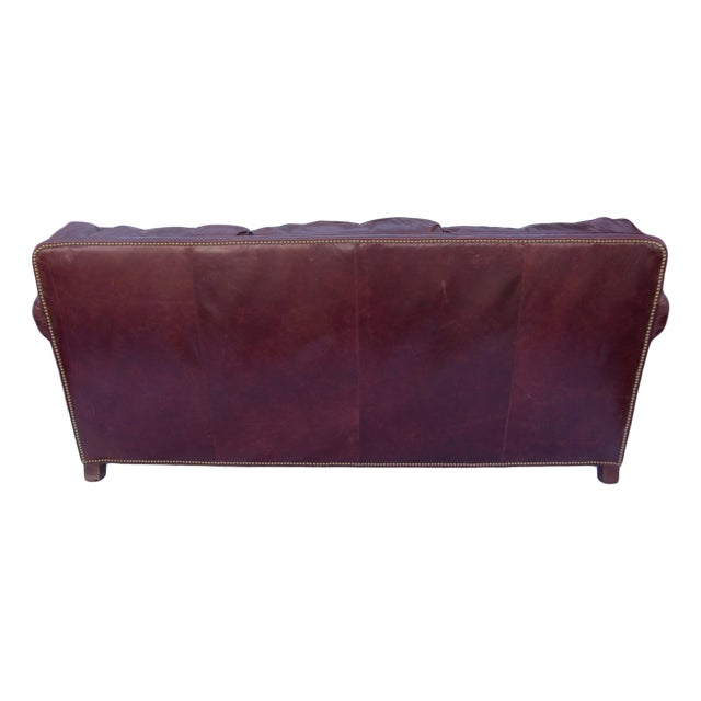 This item is only available for sale until 1/21/18! Pearson sofa upholstered in a chestnut colored leather with brass...