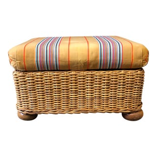 Wicker Ottoman/FootStool With Ball Feet and Original Striped Silk Cushion For Sale